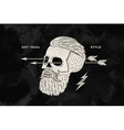 Poster of vintage skull hipster label for t-shirt vector image