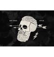 poster vintage skull hipster label for t-shirt vector image