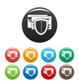 protected credit card icons set color vector image vector image