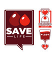 save life blood donation charity and medical aid vector image vector image