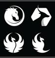 set animal horse antelope phoenix bird logo vector image