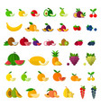 set fruits and berries icons flat vector image