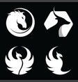 set of animal horse antelope phoenix bird logo vector image