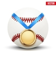 Sport gold medal with ribbon for winning baseball vector image vector image