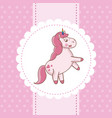unicorn card pink fairytale decoration vector image vector image