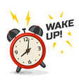 wake up alarm clock with two bells vector image