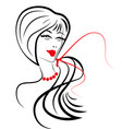 women long hair style icon women on white vector image vector image