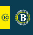 yellow blue b initial letter in circle frame vector image vector image