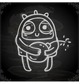 Alien with a Bomb Drawing on Chalk Board vector image