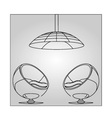 Interior design- egg chair with lighting vector image