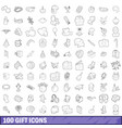 100 gift icons set outline style vector image vector image