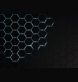 abstract hexagon mesh blue light energy in black vector image