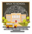back to school concept poster school bus vector image vector image
