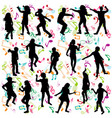 background with silhouettes children dancing vector image vector image