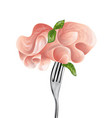 baked ham on fork vector image vector image