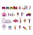 bundle people and circus fair set icons vector image