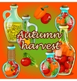 Canned vegetables in the fall autumn harvest vector image