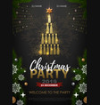 christmas party poster with golden champagne vector image
