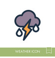 cloud rain lightning icon weather vector image vector image
