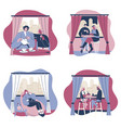 coffee couples set flat isolated vector image vector image
