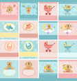 Collection of babys postcards vector image