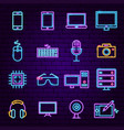 computer technology neon icons vector image