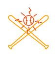 crossed baseball bat and ball monoline vector image