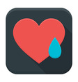 Crying heart app icon with long shadow vector image vector image