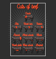 cut beef set vector image