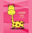 cute card with giraffe pink background vector image