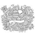 Easter hand drawn cartoon doodles