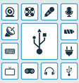 electronics icons set with battery fan usb and vector image vector image