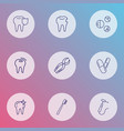 enamel icons line style set with dental nippers vector image