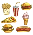 Fast food sketch icons set vector image vector image