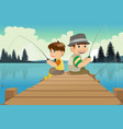 father and son going fishing in a lake vector image vector image
