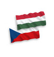flags czech republic and hungary on a white vector image vector image