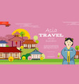 flat asia travel background vector image vector image