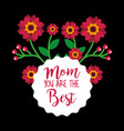 floral decoration mom the best round label with vector image