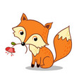 fox is holding a flower in his mouth vector image vector image