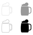 glass of beer the black and grey color set icon vector image