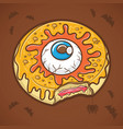 halloween donut with eye and yellow slime vector image vector image