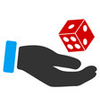 hand play dice flat icon vector image