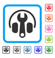 headphones tuning wrench framed icon vector image vector image