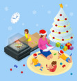 merry christmas and happy holidays concept mom vector image