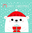 merry christmas white polar bear head face vector image