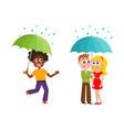 people keeping umbrella in rain set vector image