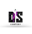 purple black alphabet letter ds d s logo vector image vector image