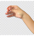 realistic hand of man holds presumed glass of vector image vector image