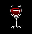 red wine glass symbol icon on black vector image vector image