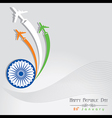Republic Day greeting with airplane vector image vector image